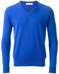 Maglione con scollo a v blu