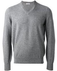 Maglione con scollo a v grigio