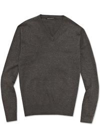 Maglione con scollo a v grigio scuro