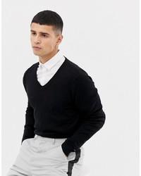 Maglione con scollo a v nero di ASOS DESIGN