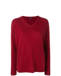 Maglione con scollo a v rosso di Aspesi