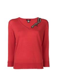 Maglione con scollo a v rosso di Cavalli Class