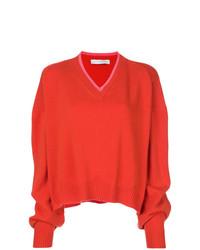 Maglione con scollo a v rosso di Giada Benincasa