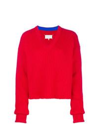 Maglione con scollo a v rosso di Maison Margiela