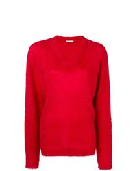 Maglione con scollo a v rosso di Miu Miu