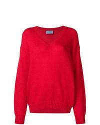 Maglione con scollo a v rosso di Prada