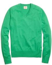 Maglione con scollo a v verde