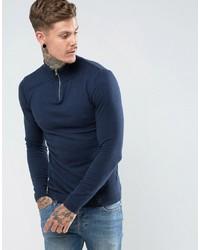 Maglione con zip blu scuro di ASOS DESIGN