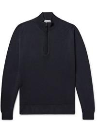 Maglione con zip blu scuro di John Smedley