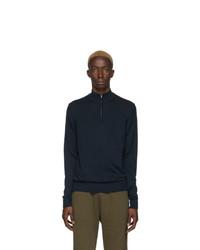 Maglione con zip blu scuro di Sunspel
