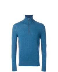 Maglione con zip blu di Burberry