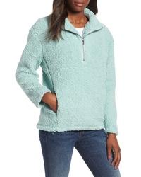 Maglione con zip di pile azzurro
