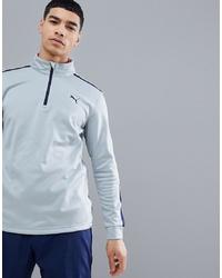 Maglione con zip di pile grigio