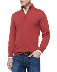 Maglione con zip rosso