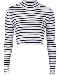 Maglione corto a righe orizzontali bianco e nero