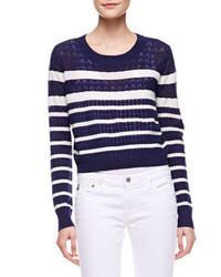 Maglione corto a righe orizzontali blu scuro e bianco