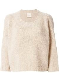 Maglione corto beige