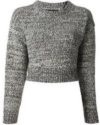 Maglione corto lavorato a maglia grigio