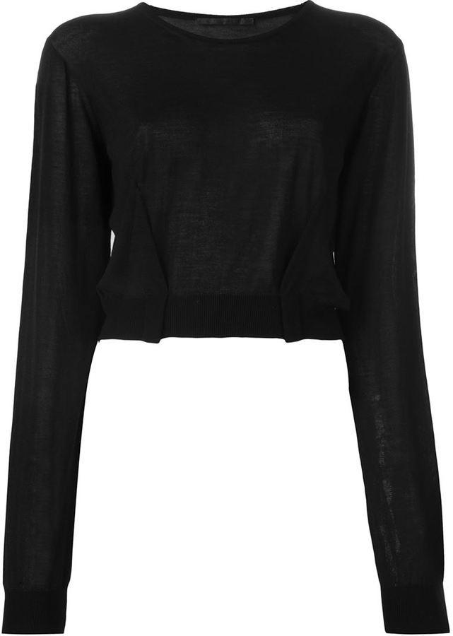 5b3340bfd1 Maglione corto nero di Haider Ackermann, €386 | farfetch.com | Lookastic
