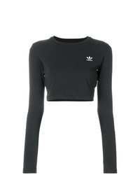 Maglione corto ricamato nero