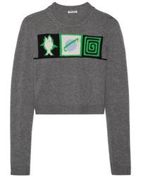 Maglione corto stampato grigio