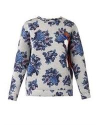 Maglione girocollo a fiori bianco e blu
