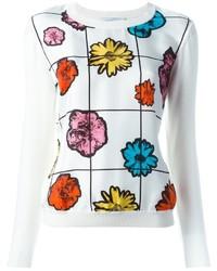 Maglione girocollo a fiori bianco