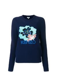 Maglione girocollo a fiori blu scuro di Kenzo