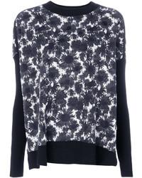 Maglione girocollo a fiori nero e bianco