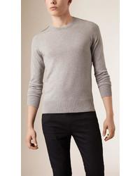 Maglione girocollo a quadri grigio