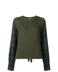 Maglione girocollo a quadri verde oliva di N°21