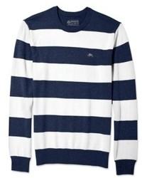 Maglione girocollo a righe orizzontali bianco e blu scuro