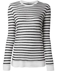 Maglione girocollo a righe orizzontali bianco e nero