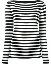 Maglione girocollo a righe orizzontali bianco e nero di Michael Kors