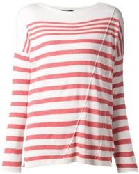 Maglione girocollo a righe orizzontali bianco e rosso di Rag and Bone