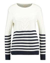 Maglione girocollo a righe orizzontali bianco di Esprit