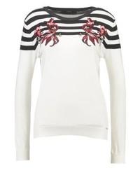 Maglione girocollo a righe orizzontali bianco di GUESS