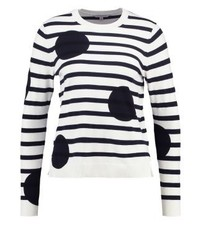 Maglione girocollo a righe orizzontali bianco di LK Bennett