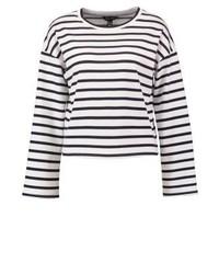 Maglione girocollo a righe orizzontali bianco di New Look
