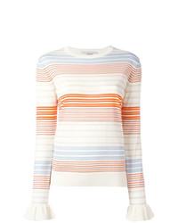 Maglione girocollo a righe orizzontali bianco di Stella McCartney