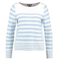 Maglione girocollo a righe orizzontali bianco di Tommy Hilfiger