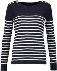 Maglione girocollo a righe orizzontali blu scuro e bianco