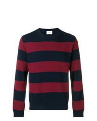 Maglione girocollo a righe orizzontali blu scuro e rosso