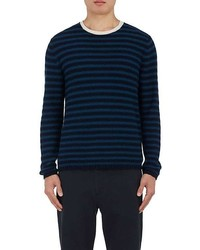 Maglione girocollo a righe orizzontali blu scuro e verde
