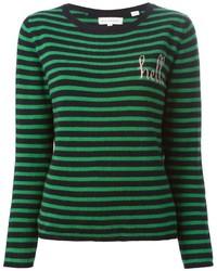 Maglione girocollo a righe orizzontali blu scuro e verde di Chinti and Parker