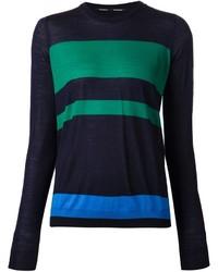 Maglione girocollo a righe orizzontali blu scuro e verde di Proenza Schouler