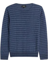 Maglione girocollo a righe orizzontali blu scuro