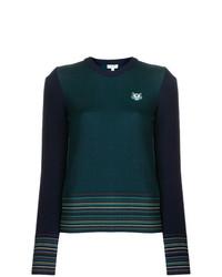 Maglione girocollo a righe orizzontali blu scuro di Kenzo