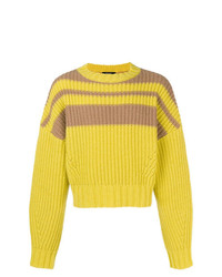 Maglione girocollo a righe orizzontali giallo di Qasimi