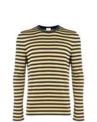 Maglione girocollo a righe orizzontali giallo di Saint Laurent